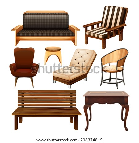 Different Kinds Of Chairs And Table