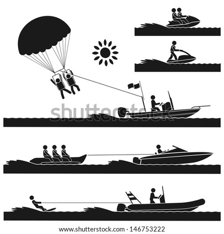 Different kinds of exciting water sports on the sea - stock vector