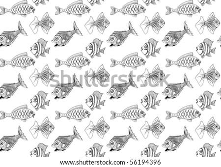 Different kinds of fish. Seamless. You can repaint any color. - stock vector