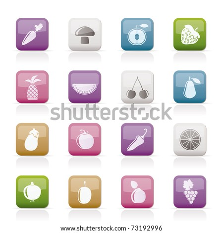 Different kinds of fruits and Vegetable icons - vector icon set - stock vector