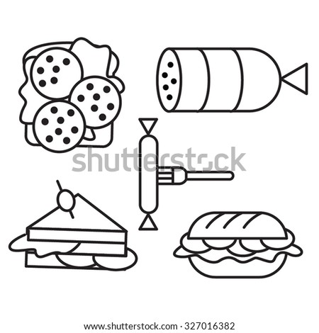Different kinds of meat sandwiches line icons set - stock vector