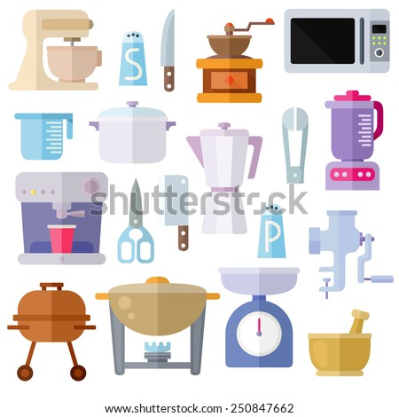 Different kitchen utensils. Colorful modern vector flat icons set. Isolated objects on white background. Collection of elements and concepts for web and mobile apps. Vector file is EPS8. - stock vector