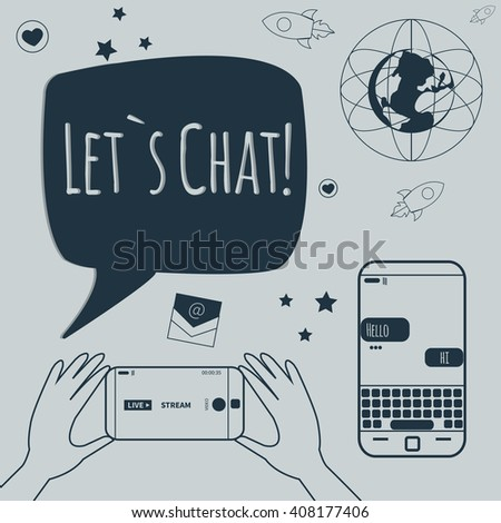 Different line style icon. Technology, digital world, rocket launch, sms bubbles, earth, smart phone, live stream, e-mail, text stickers. Vector illustration
