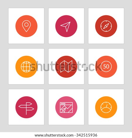Different line style icons on circles. Application pictograms collection - stock vector