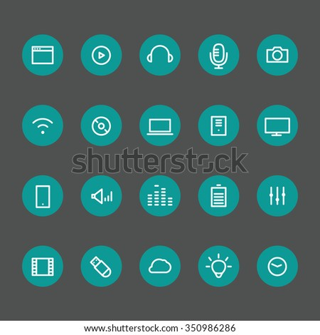 Different line style icons on color circles set. Technology
