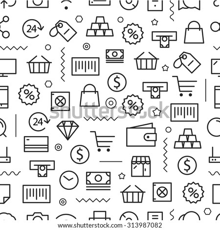 Different line style icons seamless pattern. Shopping - stock vector