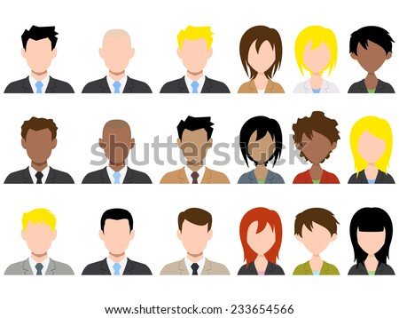 Different male and female avatar, vector illustration set collection - stock vector