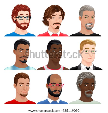 Different male avatars. Vector isolated characters.  - stock vector