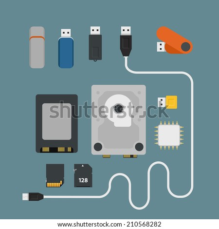 Different memory storage devices - stock vector