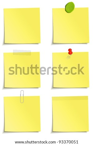 Different methods of attachment of the notes: clip, scotch tape, plasticine, sticker, pin - stock vector