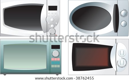 different microwave oven on a white background - stock vector
