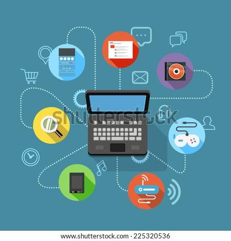 Different modern digital device scheme - stock vector
