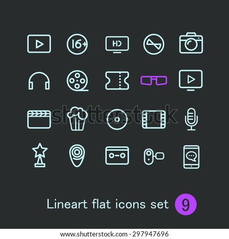 Different modern media web application icons collection. Vector clip-art