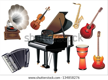 Different music instruments on the white background - stock vector