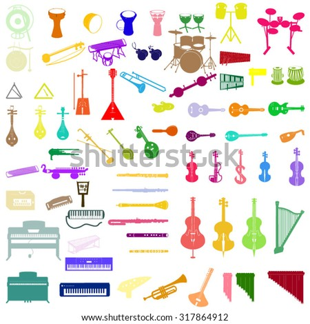 different musical instruments in color - stock vector