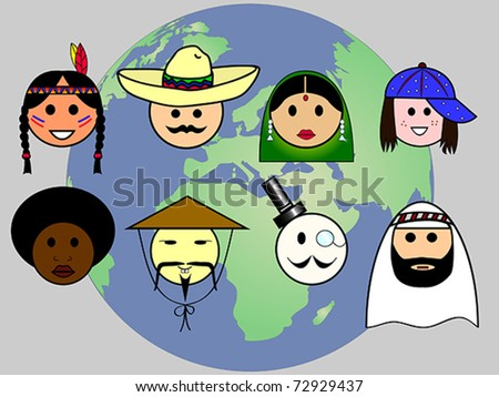 Different nationalities from all over the world - stock vector