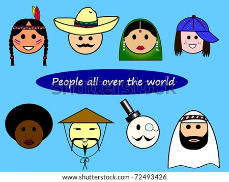 Different nationalities from all over the world. Also available as jpeg. - stock vector