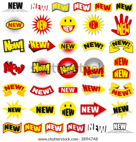 Different NEW vector stickers. Easy to change colors. - stock vector