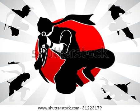 Different ninja silhouettes over rising sun background - stock vector