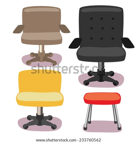 different office chairs icons set. None outline cartoon character simplicity flat style, vector illustration. - stock vector
