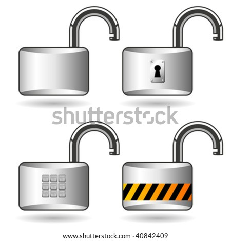 Different opened padlocks over white square background