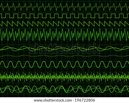 Different oscilloscope waves. Vector illustration on graph background  - stock vector