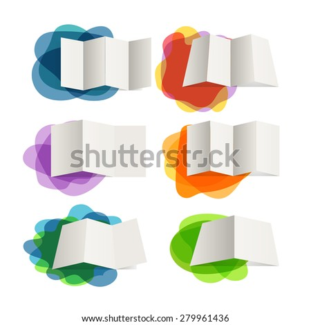Different paper maps on blots collection. Design elements - stock vector