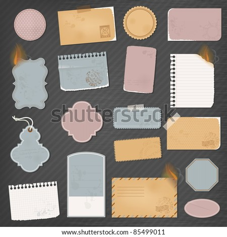 Different paper objects for your design - stock vector