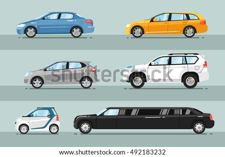 Different passenger car vector. Sedan, universal car, hatchback, off-road, SUV, mini, limousine car. Car side profile. Isolated car vector icon set. Detailed vector car type. Car side view. Car icon.