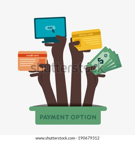 different payment option like credit card, net banking, cash, debit card hold in hand concept vector - stock vector