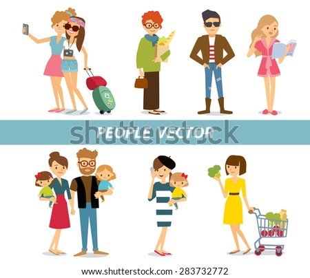 different people bright clothes  at the simple style - stock vector
