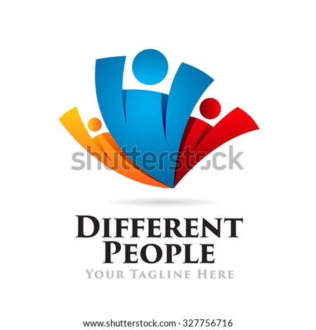 Different People Icon Logo - stock vector