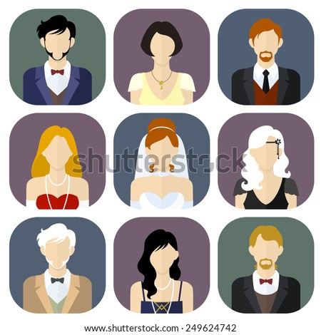 Different people in formal suits flat style icons set. Vector Illustration