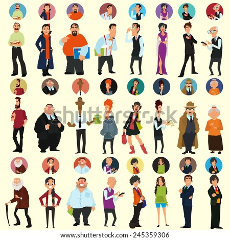 different people in full-length and different poses. avatars and icons. people's faces. vector illustration of a flat style for your design. - stock vector