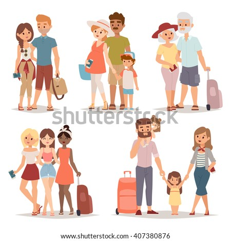 Different people on vacation and vacation people traveling. Vacation people happy family travel together. Traveling family group people on vacation together character flat vector illustration. - stock vector