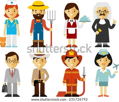 Different people professions characters set - stock vector