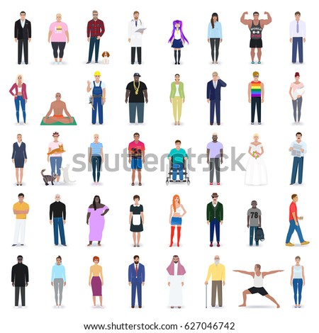 Different people to choose from, detailed picture, of different professions, vector illustration