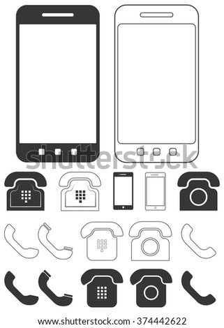 Different phone and smartphones icons set. Old and modern phone signs with positive and invert variants. Smartphones, rotary dial phones, handsets and push-buttons phones. Vector illustration