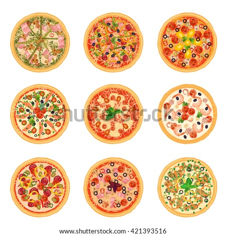Different pizza set collection isolated. Italian American Pizza menu in restaurant. - stock vector