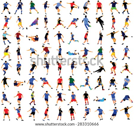 Different poses of soccer players vector isolated on white background. Very high quality detailed soccer football editable players cutout outlines. - stock vector