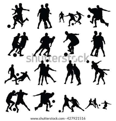 Different poses of soccer players vector silhouette isolated on white background. Very high quality detailed soccer football editable players cutout outlines.  - stock vector