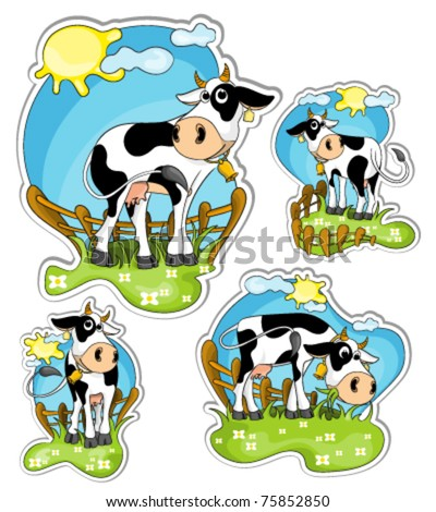 different positions of little black and white cow in grassland : vector stickers - stock vector