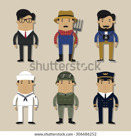 Different professions character set  - stock vector