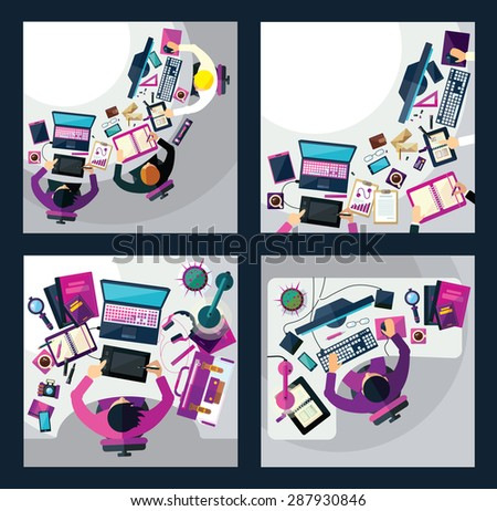 Different professions. This vector illustration made on business theme in flat style.