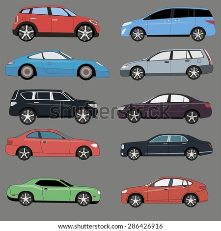 Different range of cars set.  - stock vector