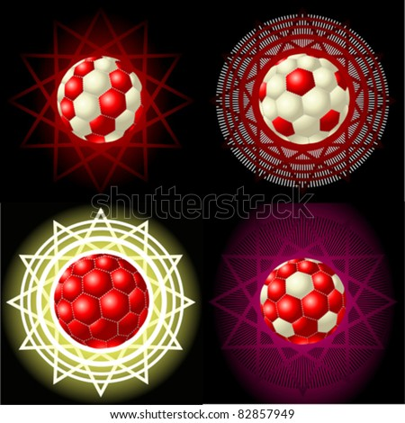 Different red footballs on the different backgrounds - stock vector