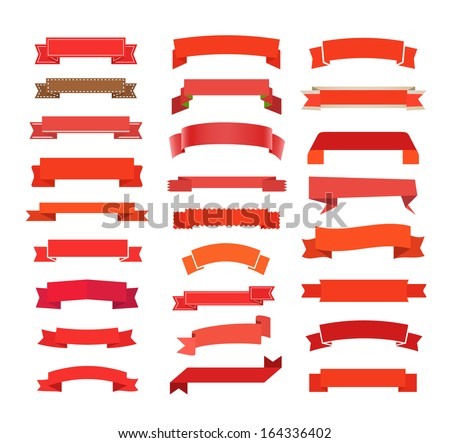 Different retro style red ribbons set isolated on white. Ready for a text - stock vector