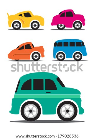 Different Retro / Vintage Car Cartoon - Vector Illustration - stock vector