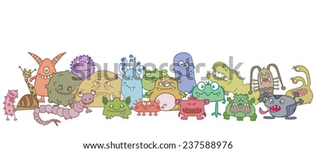 different scary germs - stock vector