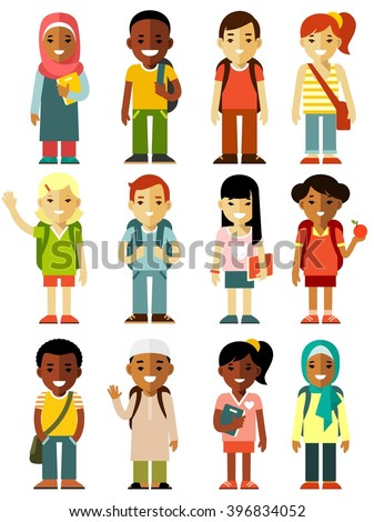 Different school children stand set in flat style. Multicultural school kids group isolated on white background